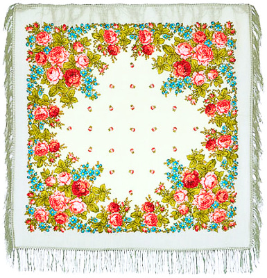 "Pavloposadskie handkerchief ""Varvara""  The pleasant and nice warm woolen scarf pavloposadskie small size 89h89 see. Quiet gentle tones of white handkerchief perfectly emphasize richness of flower ornamental solutions in the form of a combination of bright pink roses in a soft greenish leafy woven into the decor with a blue color. Author artistic composition Luxurious pure wool shawl is a famous artist Clara pavloposadskie Zinoviev. The edges of the shawl Kant processed soft wool fringed white, emphasizing soft tactile feel beautiful head dress."